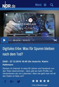 Digitaler Nachlass & digitale Vorsorge ein Beitrag vom NDR