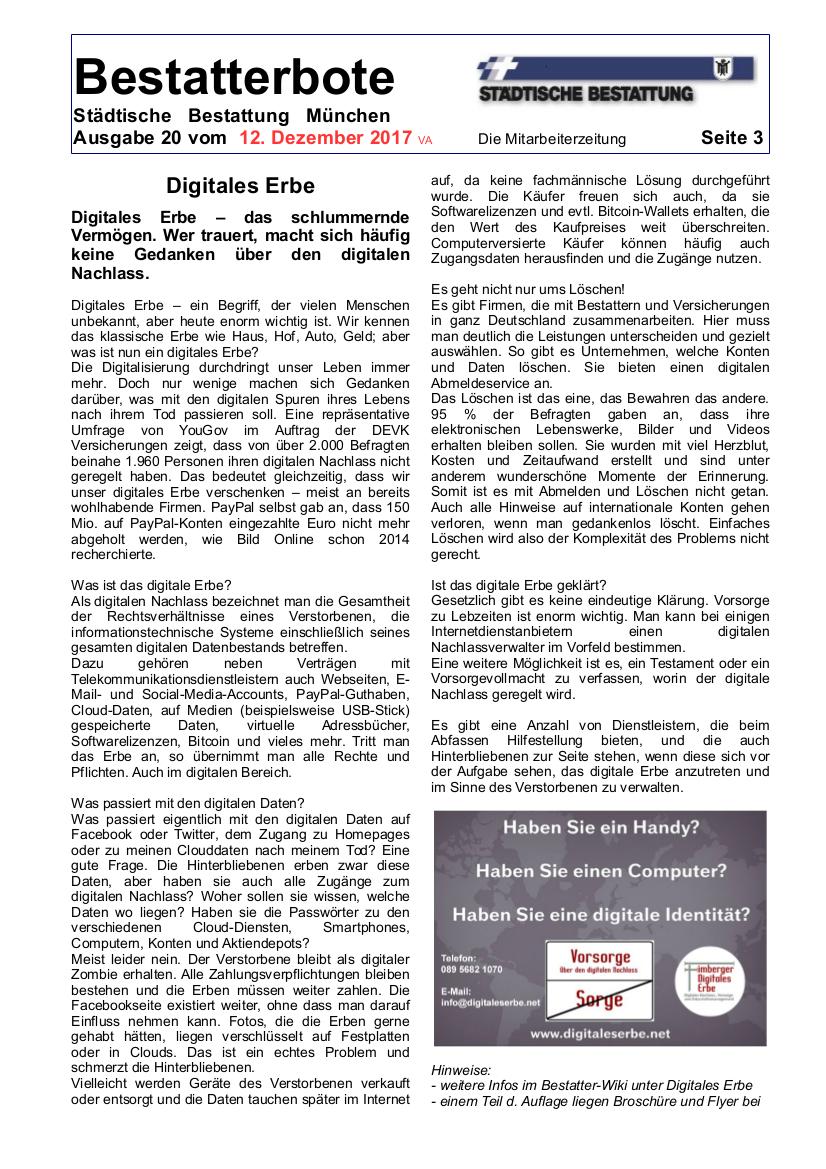 Der Bestatterbote der Städtischen Bestattung mit dem Artikel Digitales Erbe & Digitaler Nachlass & Digitale Vorsorge