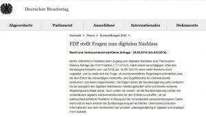 Deutscher Bundestag Anfrage der FDP-Fraktion Digitaler Nachlass und Digitales Erbe